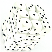 White & Black Opaque 12mm D6 Dice Block